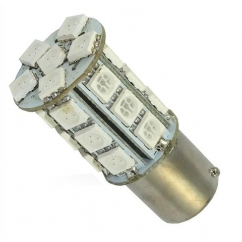 LED auto žiarovka BA15S 24 SMD5050 P21W CANBUS RED