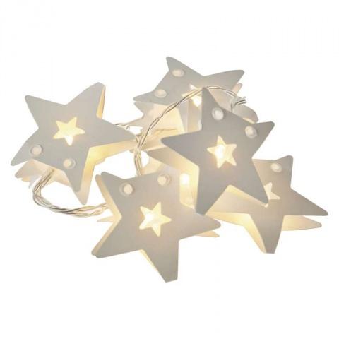 LED girlanda – hviezdy pap., 2×AA, teplá biela, časovač