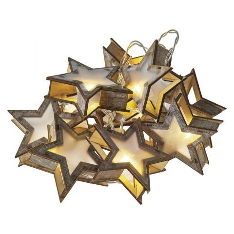 LED girlanda – hviezdy 3D, 2×AA teplá biela, časovač