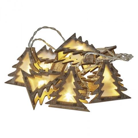 LED girlanda – stromčeky 3D, 2×AA, teplá biela, časovač