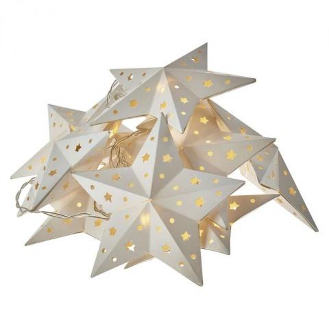 LED girlanda – hviezdy, 2×AA, teplá biela, časovač