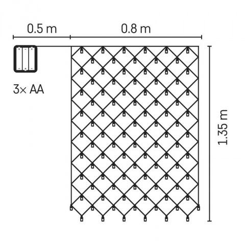 LED sieť, 3×AA, IP44, teplá biela, časovač