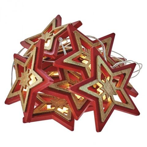LED hviezda prírodná/červená, 2×AA, teplá biela, časovač