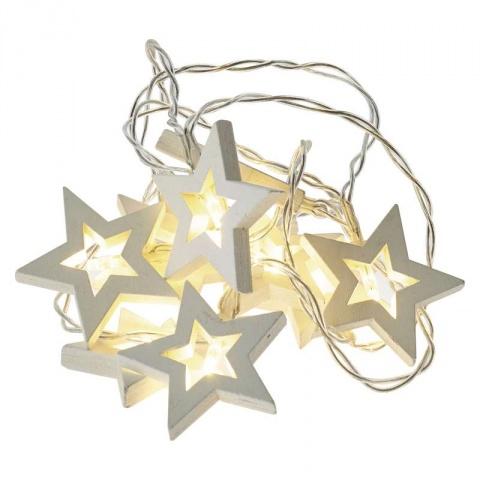 LED girlanda – hviezdy drevené, 2×AA, teplá bielá, časovač