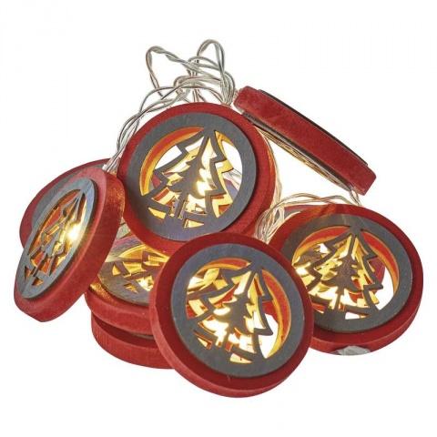 LED stromček prírodný/červený, 2×AA, teplá biela, časovač