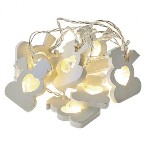 LED girlanda – snehuliaci, 2×AA, teplá biela, časovač