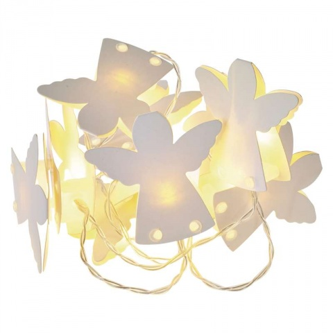 LED girlanda – anjelici papieroví, 2×AA, teplá biela, čas.