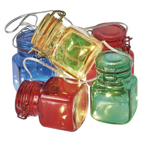 LED girlanda – 6× poháriky farebné, 3×AA, časovač