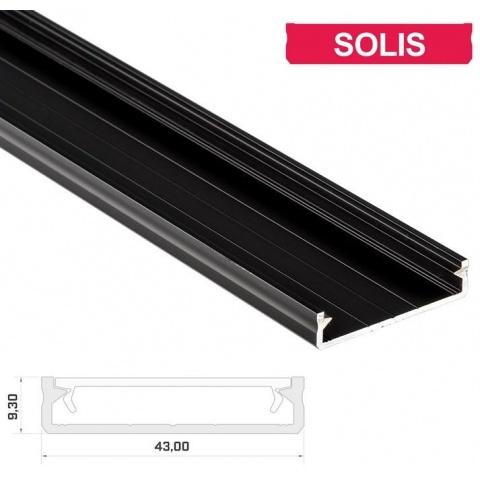 2m hliníkový profil LUMI SOLIS čierny