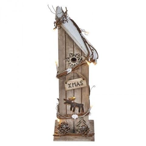 LED domček drevený, 30cm, 2×AA, teplá biela, časovač