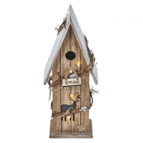 LED domček drevený, 33cm, 2×AA, teplá biela, časovač