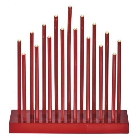 LED dekorácia – červený, 3×AA, teplá b., čas.