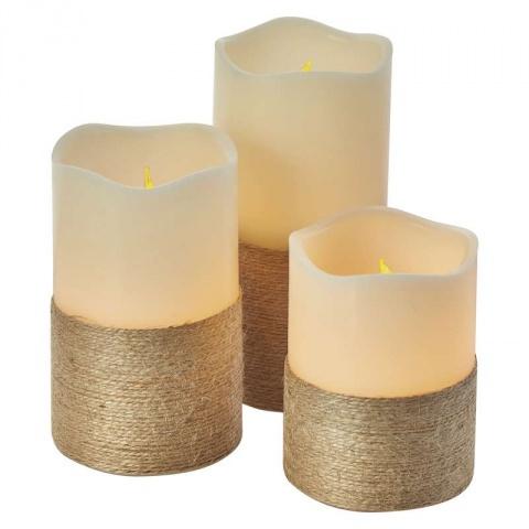 LED dekorácia – sviečka s povrázkom, 9×AAA, ovl., čas.