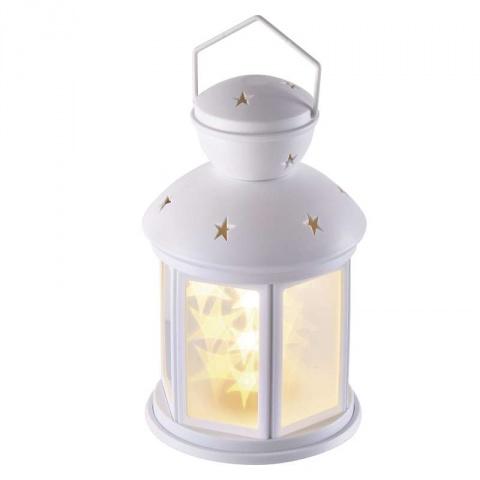 LED dekorácia – lampáš s hviezdami,3×AA,stud. biela,časovač