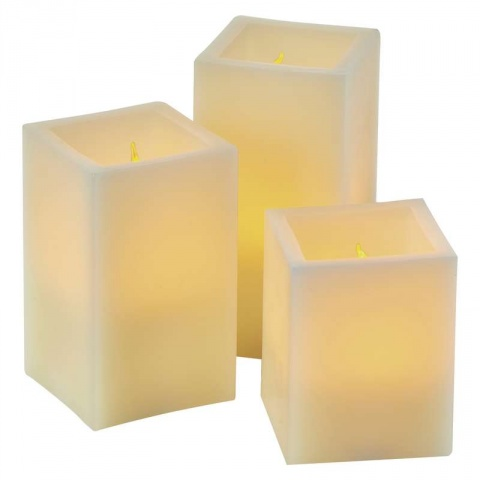 LED dekorácia – sviečka, hranatá, 9×AAA, ovladač, časovač