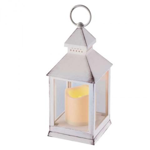 LED dekorácia – lampáš antik biela, 3×AAA, blik. svet., čas.