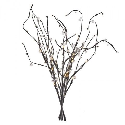 LED vetvička (perly), 3×AA, teplá biela, časovač