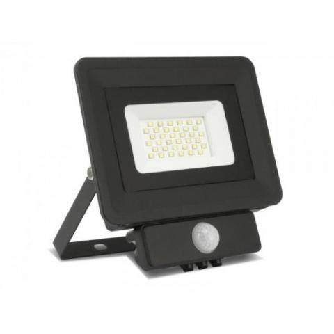 LED reflektor 10W studená biela + senzor pohybu