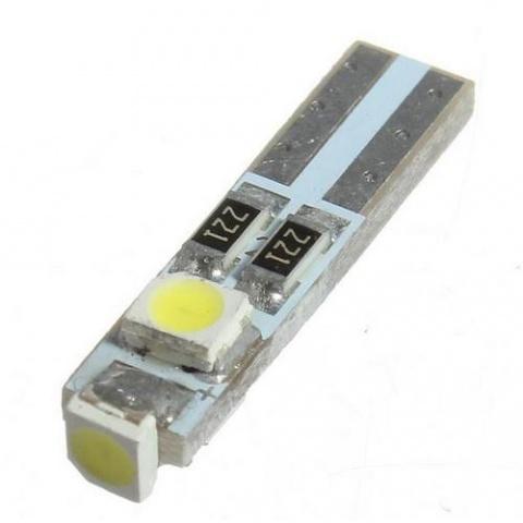 LED auto žiarovka T5 LED SMD1210 0.75W 12V studená biela