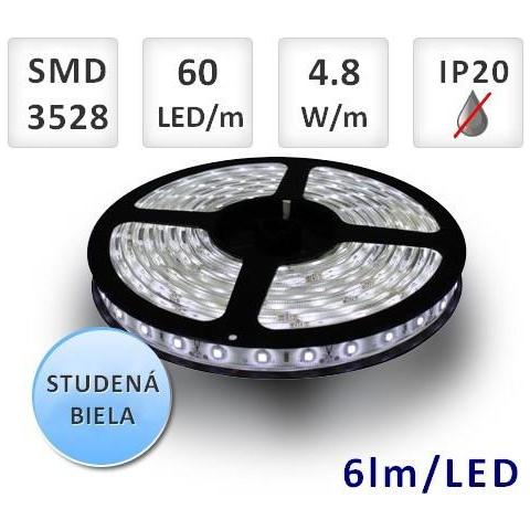 5mm LED pásik 6lm/led 60x 3528 SMD 4,8W 1m studená biela, IP20