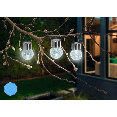 Solárne závesné LED osvetlenie Esotec Crackle Ball 102308 sada 3ks
