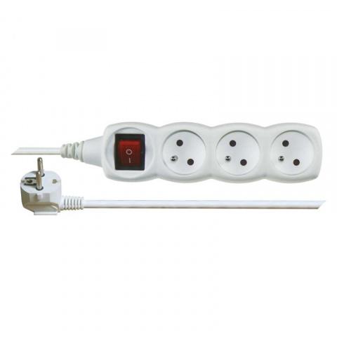 Predlžovací prívod s vypínačom 3 zásuvky 1,5m biely