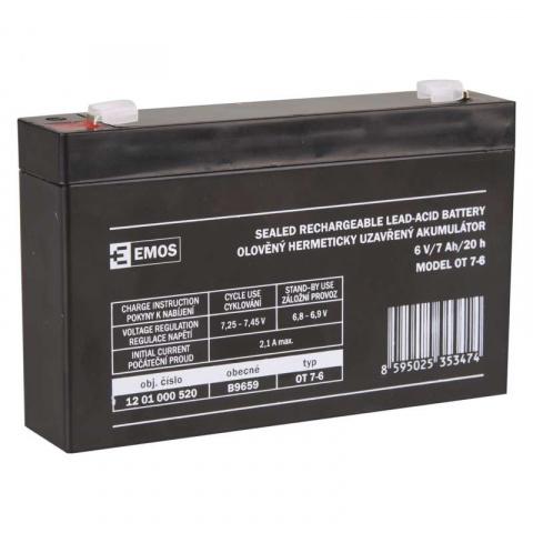 Bezúdržbový olovený akumulátor 6 V/7 Ah, faston 4,7 mm