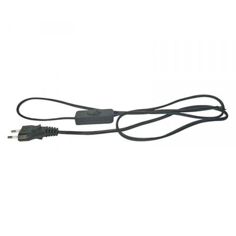Flexo šnúra PVC s vypínačom 2x0,75mm 2m čierna