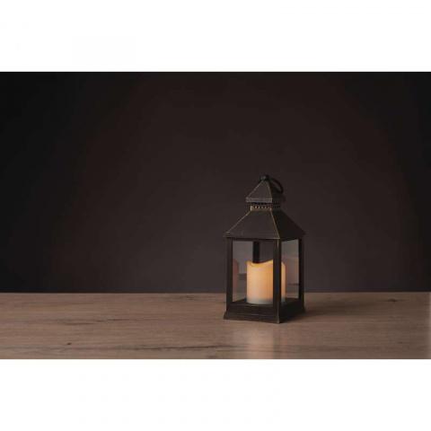 LED dekorácia – lampáš antik čierny, 3×AAA, blik. svet.,čas.