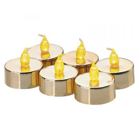 LED dekorácia – sviečka, čajová zlatá, 6× CR2032