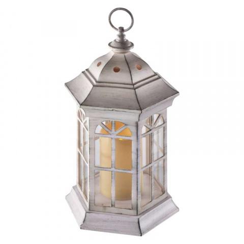 LED dekorácia – lampáš biely, 3×AAA, blikajúce svetlo, čas.