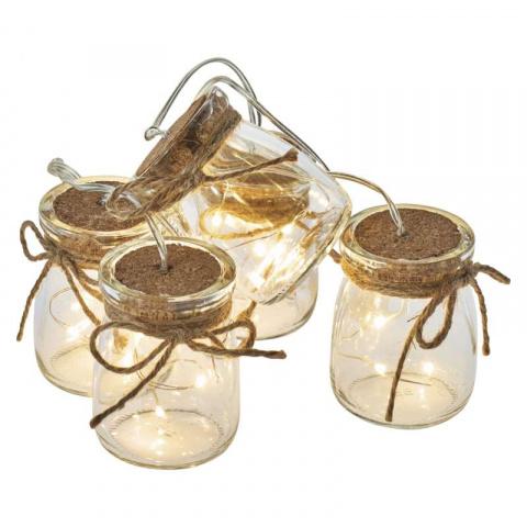 LED girlanda – 5× poháriky, 3×AA, teplá biela, čas.