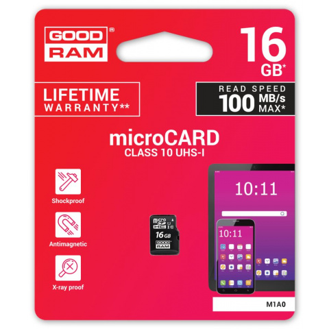 Karta micro SDHC 16GB Goodram class 10 UHS1