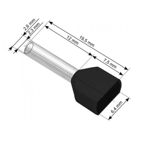 Koncovka trub. izol.2x1,5/12mm čierna (100ks)
