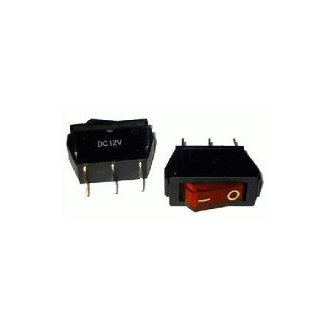 Prepínač kolískový 3pin 12V červený