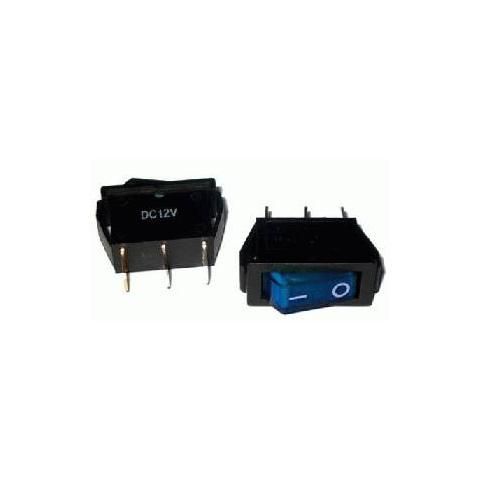 Prepínač kolískový 3pin 12V modrý