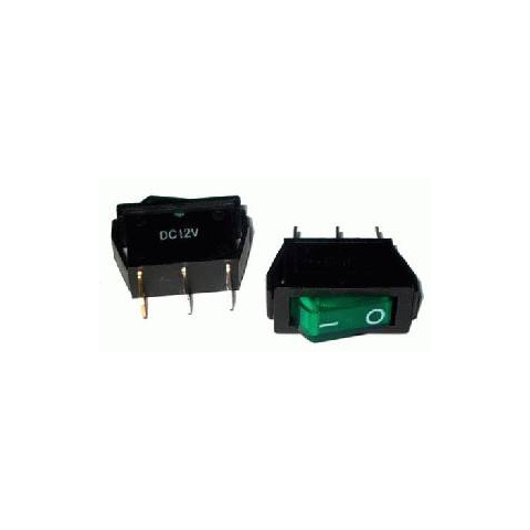 Prepínač kolískový 3pin 12V zelený