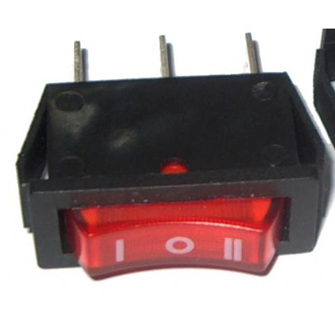 Prepínač kolískový 3pin 3pol. 230V - červ.