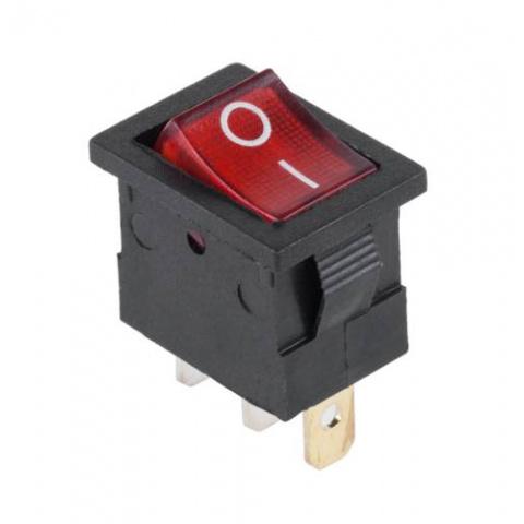 Prepínač kolískový mini 3pin 12V červený
