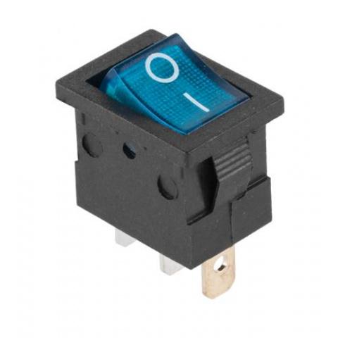 Prepínač kolískový mini 3pin 12V modrý