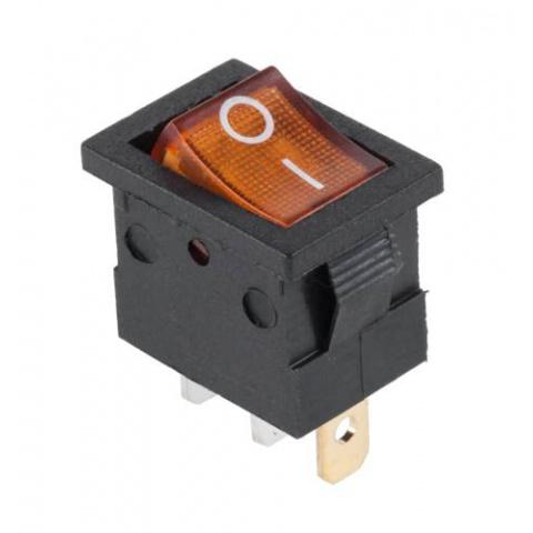 Prepínač kolískový mini 3pin 12V oranžový