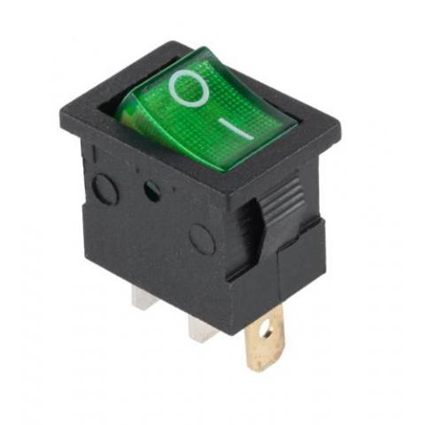 Prepínač kolískový mini 3pin 12V zelený