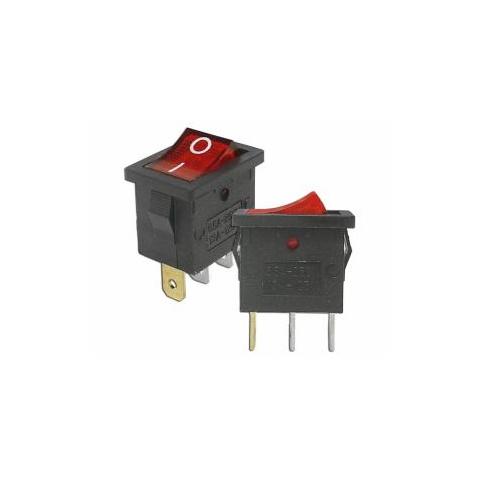 Prepínač kolískový mini 3pin 230V červený