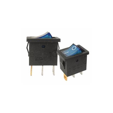 Prepínač kolískový mini 3pin 230V modrý