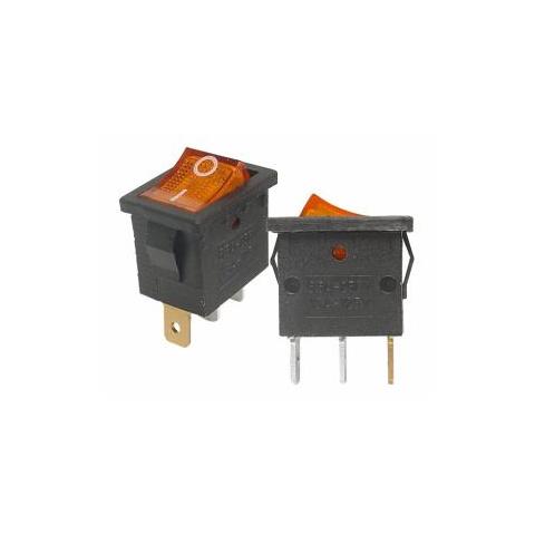 Prepínač kolískový mini 3pin 230V oranžový