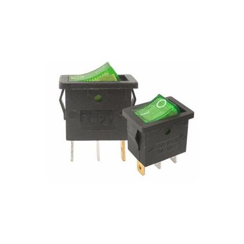 Prepínač kolískový mini 3pin 230V zelený