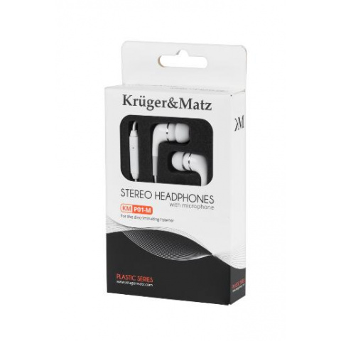 Slúchadlá do uší s mikrof.KMP01-M Kruger&Matz biele