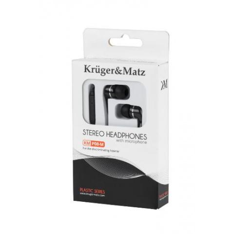 Slúchadlá do uší s mikrof.KMP08-M Kruger&Matz čierne
