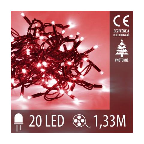 Vianočná LED svetelná reťaz vnútorná - 20LED - 1,33M Červená