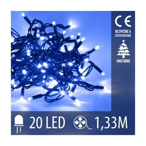 Vianočná LED svetelná reťaz vnútorná - 20LED - 1,33M Modrá